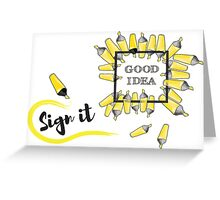 good idea inscription in the black box surrounded by yellow background Greeting Card
