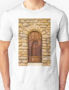 Old door and stone wall in Southern France Unisex T-Shirt