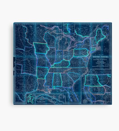 0016 Railroad Maps A new map of the United States Upon which are delineated its vast works of internal communication routes across the continent c showing also Canada and Inverted Canvas Print