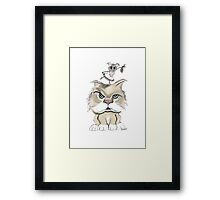 Mad cat with a playful mouse Framed Print