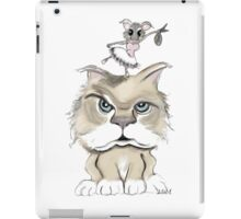 Mad cat with a playful mouse iPad Case/Skin