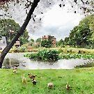 Village Pond Watercolour by John Edwards