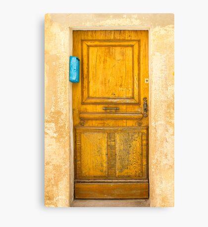 Vintage Door with blue post box in Saint Tropez, France Canvas Print