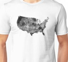 USA map in watercolor black and gray Unisex T-Shirt