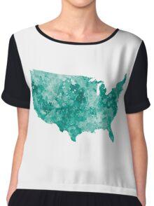 USA map in watercolor green Chiffon Top