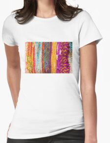 Greek carpet - Colorful striped bright cotton texture Womens Fitted T-Shirt