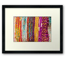Greek carpet - Colorful striped bright cotton texture Framed Print
