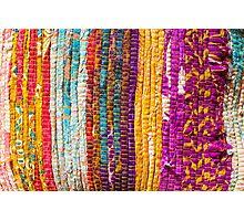 Greek carpet - Colorful striped bright cotton texture Photographic Print