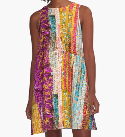 Greek carpet - Colorful striped bright cotton texture A-Line Dress