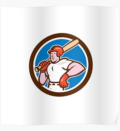 Baseball Player Holding Bat Cartoon Poster