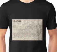0120 Railroad Maps Lloyd's official map of the state of Kentucky compiled from actual surveys and official documents showing every rail road rail road station with the Unisex T-Shirt