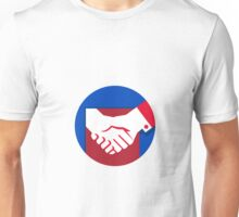 Business Deal Handshake Circle Retro Unisex T-Shirt