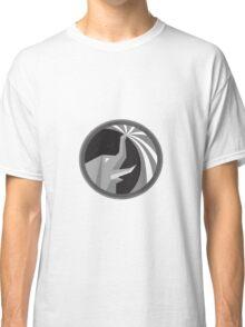 Elephant Spraying Water Mist Circle Retro Classic T-Shirt
