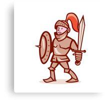 Knight Shield Sword Cartoon Canvas Print