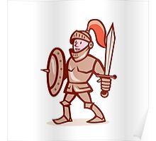 Knight Shield Sword Cartoon Poster