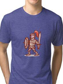 Knight Shield Sword Cartoon Tri-blend T-Shirt