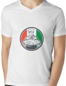 Italian Chef Cook Serving Pizza Circle Retro Mens V-Neck T-Shirt