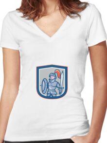 Knight Shield Sword Shield Cartoon Women's Fitted V-Neck T-Shirt