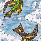 Mosaic Curly Birds by kewzoo