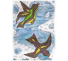 Mosaic Curly Birds Poster