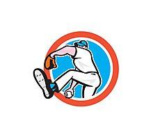 Baseball Pitcher Throwing Ball Circle Cartoon Photographic Print