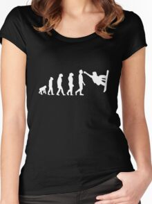 Snowboarding Evolution white Women's Fitted Scoop T-Shirt