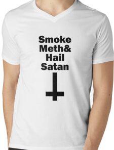 Smoke Meth And Hail Satan black Mens V-Neck T-Shirt