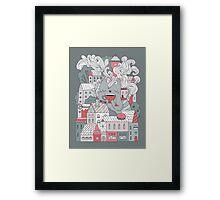 Town cat tea party Framed Print