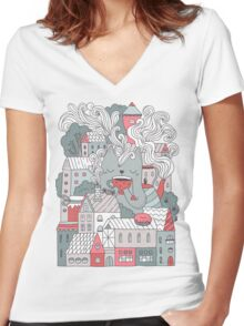 Town cat tea party Women's Fitted V-Neck T-Shirt