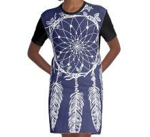 Hand Drawn Dream Catcher Graphic T-Shirt Dress