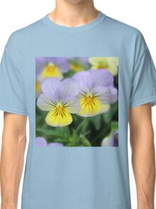 Yellow purple pansy flower Classic T-Shirt