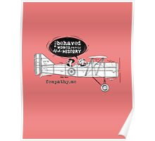 Retro lady in biplane, vintage pink airplane Poster