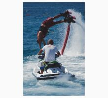 Flyboarder diving past man on Jet Ski One Piece - Long Sleeve