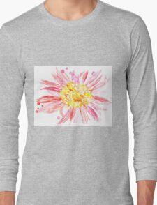 Pink Mixed Media Flower Long Sleeve T-Shirt