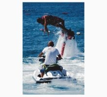 Flyboarder diving behind man on Jet Ski Baby Tee