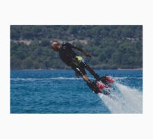 Flyboarder in black shorts and lifejacket diving One Piece - Short Sleeve