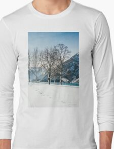 Trees By The Winter Lake Long Sleeve T-Shirt