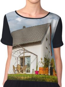New suburban family house near the city with garden Chiffon Top