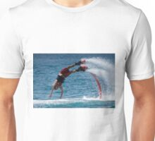 Flyboarder in red about to hit water Unisex T-Shirt