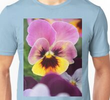 Colorful Pink and Yellow Pansy Flower Unisex T-Shirt