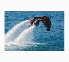 Flyboarder in red diving headfirst into water One Piece - Short Sleeve
