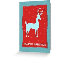 Modern Grunge Seasonal Greeting With Reindeer And Retro Colors  Greeting Card