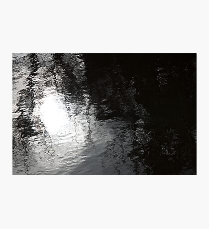 Spring sky reflected in dark river water Photographic Print