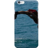Flyboarder in silhouette diving headfirst into water iPhone Case/Skin