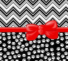 Ribbon, Bow, Dog Paws, Zigzag - White Black Red by sitnica