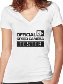 OFFICIAL SPEED CAMERA TESTER (2) Women's Fitted V-Neck T-Shirt