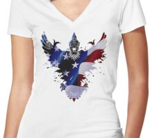 The Art Painting Of US Flags Women's Fitted V-Neck T-Shirt