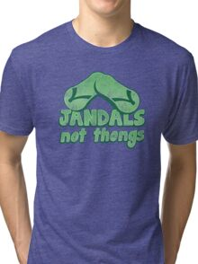 JANDALS not thongs with funny New Zealand distressed version Tri-blend T-Shirt