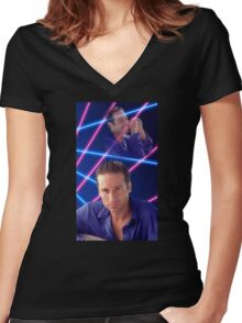Laser Duchovny Women's Fitted V-Neck T-Shirt