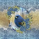 king size Winter Bluebird Cameo Design, With Ice and lace effect by Moonlake